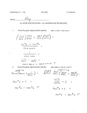 Calculus for Engineering Technology 2 Workshop 4 answers