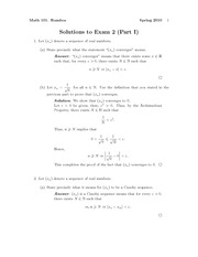 Exam 2 Part 1 Solution Spring 2010 on Introduction to Analysis