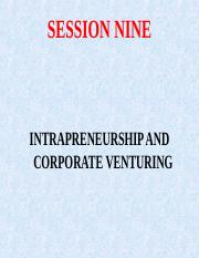 SESSION NINE - INTRAPRENEURSHIP AND CORPORATE VENTURING