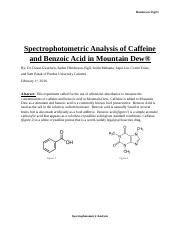 Spectrophotometric Analysis of Caffeine and Benzoic Acid in Mountain Dew.docx