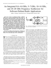 An Integrated 0.6–4.6 GHz, 5–7 GHz, 10–14 GHz,and 20–28 GHz Frequency Synthesizer for Software-Define