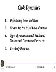 Chapter 4 - Dynamics