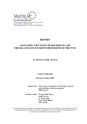 ANALYZING VIET NAM�S TRADE DEFICIT AND THE BALANCE-OF-PAYMENTS PROVISIONS OF THE WTO