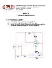 Sheet 3 - Sinusoidal Oscillators