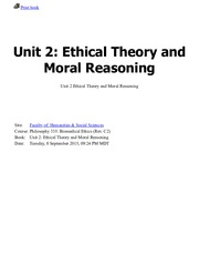 Unit 2: Ethical Theory and Moral Reasoning