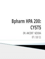 Bpharm HPA 200 - CYSTS.pptx