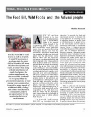 3. The Food Bill, Wild Foods and the Adivasi people