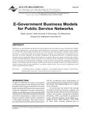 E-Government Business Models for Public Service Networks