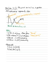 Section 12.1 Notes on the First Derivative and Graphs