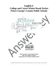 Geometry Winter Break Packet Answer Key_klw - Geometry
