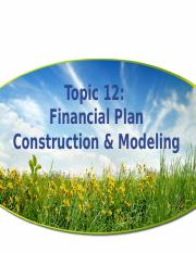 Topic 12 Financial Plan Construction & Modelling