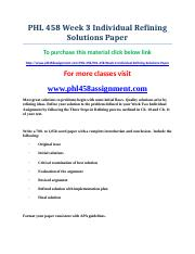 uop PHL 458 Week 3 Individual Refining Solutions Paper.doc