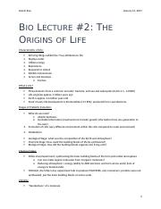 Bio Lecture #2 - The Origins of Life.docx