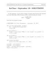 In-Class Assignment 2 SOLUTIONS