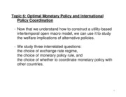 Lecture 6 Optimal Monetary Policy and International Coordination