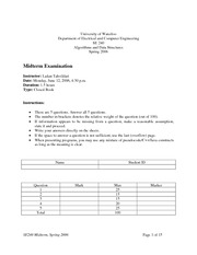 SE-240-Midterm_exam and solutions 2006 spring