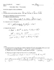 CHEM 114 - Quiz 2 with Answers