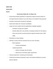 MBAN 3402 Notes on Government Safety Net