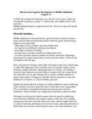 chapter 15 notes on Physical and Cognitive Development in Middle Adulthood