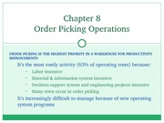 Chapter 08 - Order Picking Operations