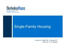 Lecture 6 - Single-Family Housing (3)