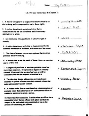 CJ 270 Vocabulary Quiz Chapter 3&5( StudentAnswers)