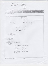 regents question solving system of equations