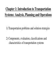 Chapter 1 Introduction to Transportation Systems