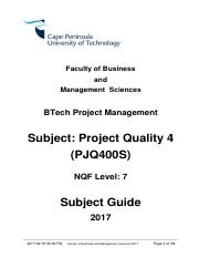 Subject Guide BTech Project Quality 2017 v2