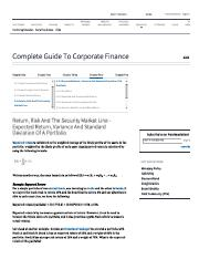 Expected Return, Variance And Standard Deviation Of A Portfolio - Complete Guide To Corporate Financ