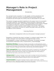 Manager's Role in Project Management