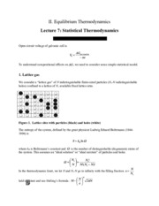 Statistical Thermodynamics review notes