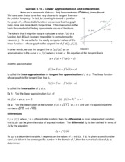 21Section 3.10-Linear Approximations and Differentials