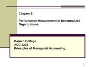 Chapter 9 PERFORMANCE MEASUREMENT