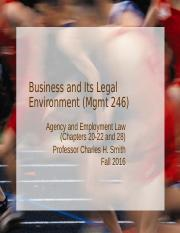 Mgmt 246--F16 Agency and Employment Law
