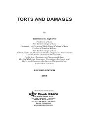 Torts and Damages (Aquino, 2005)