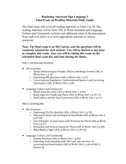Beginning Amercan Sign Language FInal Exam Study Guide