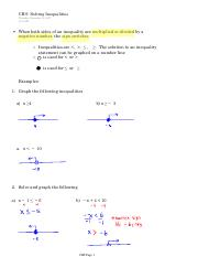CH 9 Solving Inequalities