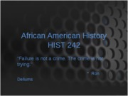 African American History Intro spring 2010