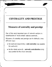 Measures of Centrality and Prestige notes