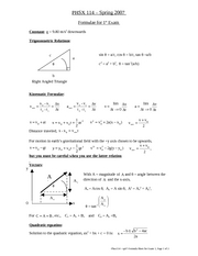 Formula Sheet for Exam 1 [Spring 2007]