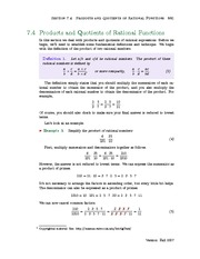 Section 4: Products and Quotients of Rational Functions