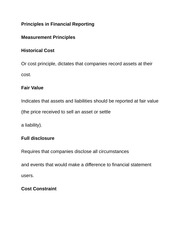 Principles in Financial Reporting