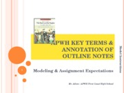 APWH Key Terms & Annotation of Outline Notes