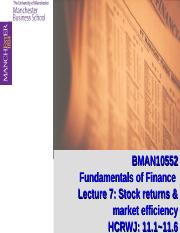 Lecture 7: Stock Returns and Market Efficiency