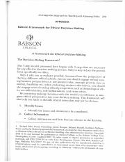 Babson Framework for Ethical Decision Making