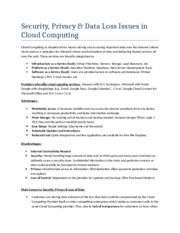 Security & Privacy Issues in Cloud Computing Assignment 1