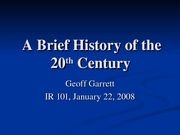 brief history of the 20th century