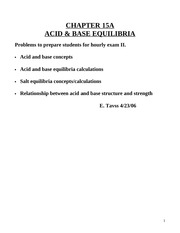 Chem 162-2010 Chapter 15A-Acid and base equilibria practice problems