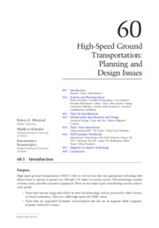 High Speed Ground Transportation - Planning and Design Issues